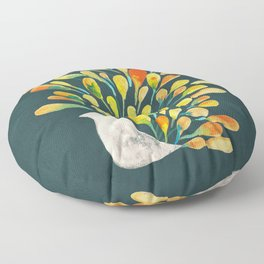 Watercolor Peacock Floor Pillow