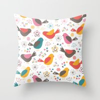 Throw Pillows featuring Quirky Chicks by Poppy & Red