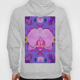Purple Orchids Pattern Fantasy peacock eyes Art Pattern Art Design Hoody