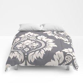 Decorative Damask Art I Cream on Grey Comforters