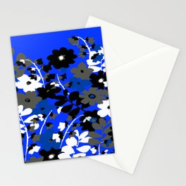 SUNFLOWER TRELLIS BLUE BLACK GRAY AND WHITE TOILE Stationery Cards