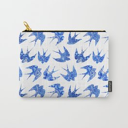 vintage pattern with little swallows, seamless pattern with birds, watercolor hand painted backgroun Carry-All Pouch