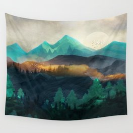 Green Wild Mountainside Wall Tapestry