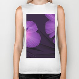 Ultraviolet Hibiscus Tropical Nature Print Biker Tank