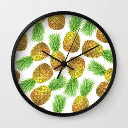 Pineapple watercolor pattern Wall Clock