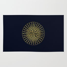 The golden compass- maritime print with gold ornament Rug