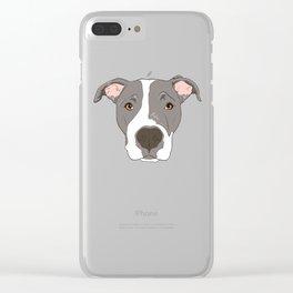 Pitbull Portrait Clear iPhone Case