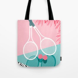 Sportin' - retro minimal pastel neon throwback memphis style pop art tennis sport court player Tote Bag