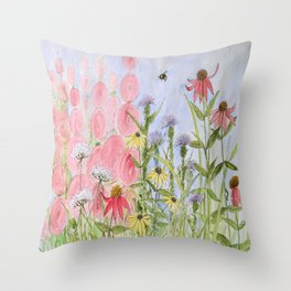 Botanical Floral Watercolor Pink Blue Yellow Flowers Blue Skies Throw Pillow