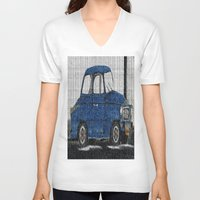cuba V-neck T-shirts featuring Cuba Car by Sartoris ART