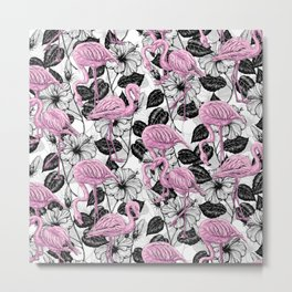 Flamingos and hibiscus flowers Metal Print