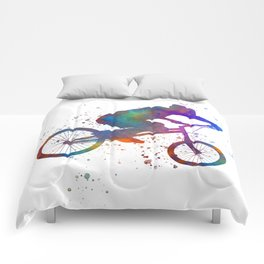 Watercolor bmx racing cyclist -13 Comforters