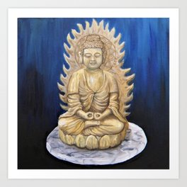 Meditation Buddha Oil Painting Still Life Peaceful Spiritual (Tranquil Space) Art Print