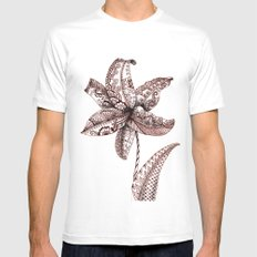 Henna Lily White Mens Fitted Tee MEDIUM