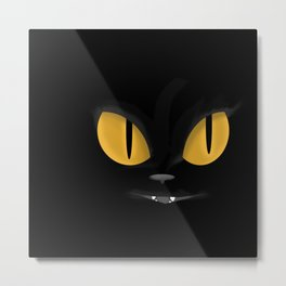Cute Black Cat with Bright Yellow Eyes Metal Print
