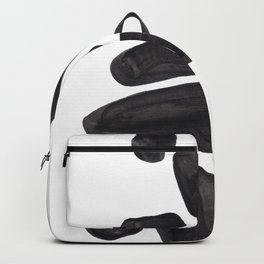 Abstract Minimalist Mid Century Modern Colorful Pop Art Black Watercolor Pebbles Organic Shapes Backpack