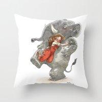 bouletcorp Throw Pillows featuring Elephant Hug by Bouletcorp