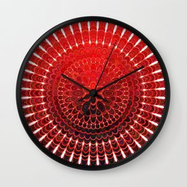 Red Flower Mandala Wall Clock