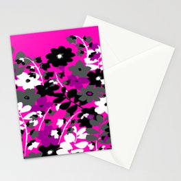 SUNFLOWER TOILE PINK BLACK GRAY WHITE PATTERN Stationery Cards