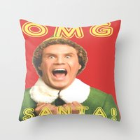 will ferrell Throw Pillows featuring OMG SANTA! / Elf by Earl of Grey