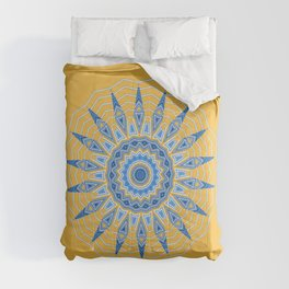 Gold Blue Aztec Mandala Design Comforters