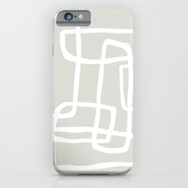 Abstract Interlocking Shapes No. 1 in Neutral Beige and White iPhone Case