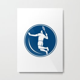 Badminton Player Jump Smash Circle Icon Metal Print