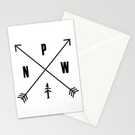 PNW Pacific Northwest Compass - Black on White Minimal Stationery Cards