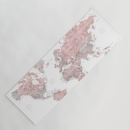 Explore - Dusty pink and grey watercolor world map, detailed Yoga Mat