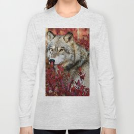 Wolf in red foliage Long Sleeve T-shirt