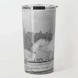 Vintage New York Harbour and Queen Mary Photograph Travel Mug