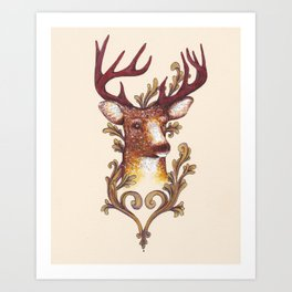 Stag Illustration 1/6 Art Print