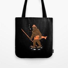 Fishing & Yeti Design: Bigfoot Carrying Fish Tote Bag