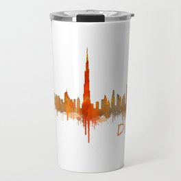 Dubai, emirates, City Cityscape Skyline watercolor art v2 Travel Mug