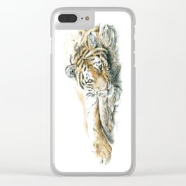 Siberian Tiger Lying Down Clear iPhone Case