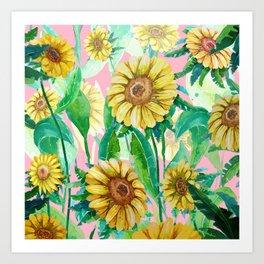 Sunflowers on Pink Art Print