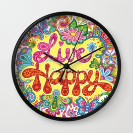 Live Happy Wall Clock
