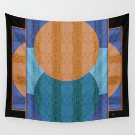 Orange Blues Geometric Shapes Wall Tapestry