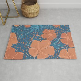 Tropical Flowers and Leaves Botanical in Terracotta Burnt Orange and Turquoise Teal Blue Rug