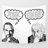 einstein Wall Tapestries featuring Jobs vs. Einstein by Rebecca Bear