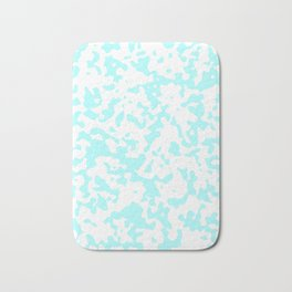Spots - White and Celeste Cyan Bath Mat