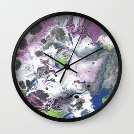 Purple and Green Abstract Wall Clock