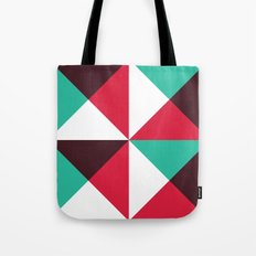 Red, turquoise, black triangle pattern Tote Bag