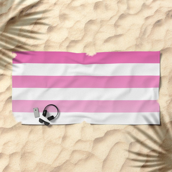 Maritime pattern- pink gradient stripes on clear white- horizontal Beach Towel