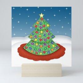 Winter Holiday Penguin, Snowman, Reindeer and Christmas Tree Mini Art Print