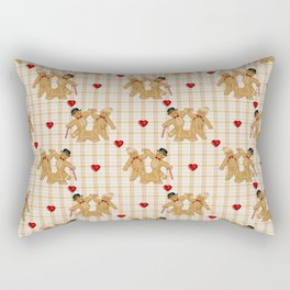 Gingerbread Family Country Plaid Christmas Rectangular Pillow