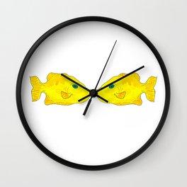 Yellow Fish (kissing pair) Wall Clock