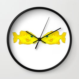Yellow Fish (kissing pair) Wall Clock