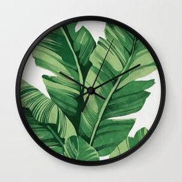 Tropical banana leaves Wall Clock