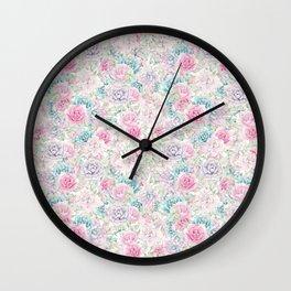 Modern aqua pastel pink lavender cactus floral Wall Clock